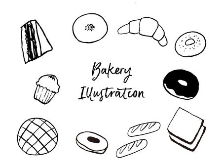 Hand drawn bread set