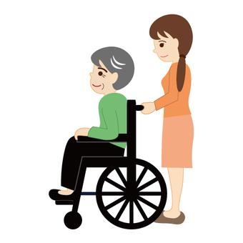 Image of nursing care (pushing a wheelchair)