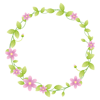 Green leaf circle frame