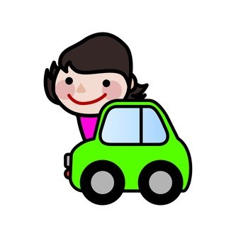A woman riding a car