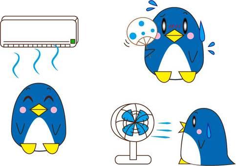 涼むペンギン