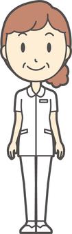 中年婦女護理白大衣-269-全身