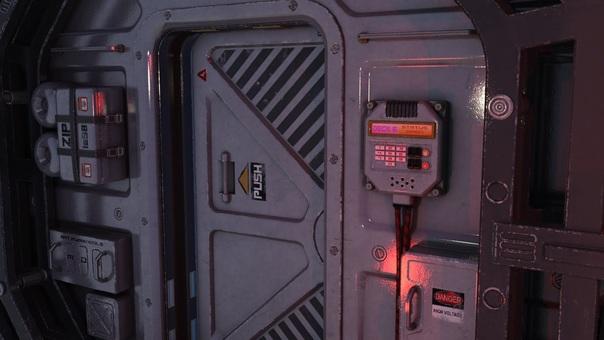 開きかけの宇宙船内通路の扉