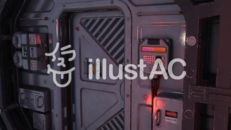 開きかけの宇宙船内通路の扉のイラスト