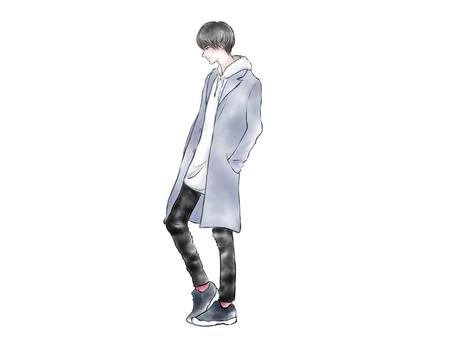 패션 남성 서 모습 옆모습 코트