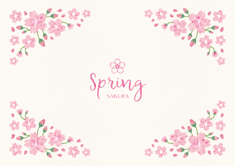 Spring background frame 007 Sakura watercolor