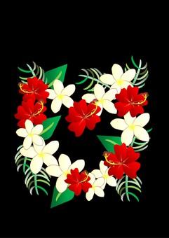 Hibiscus and plumeria (black)