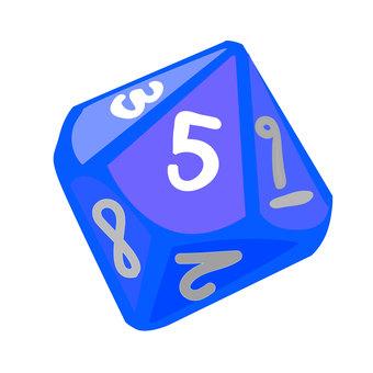 10 face dice (blue)