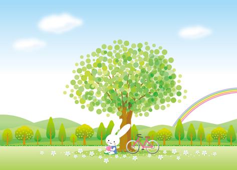 木陰で読書するうさぎ