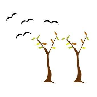 낙엽과 새