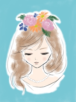A bride who puts flowers