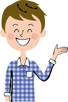 Smile Left hand Guide male upper body