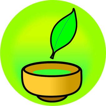 차와 차의 잎 1 장