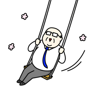 Swing middle-aged man flower
