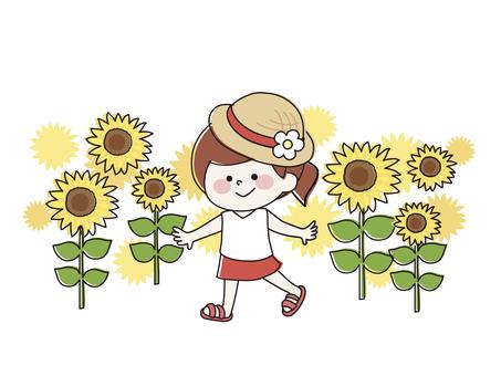 Girl in a straw hat in a sunflower field