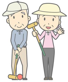 Elderly couple - Gateball - whole body