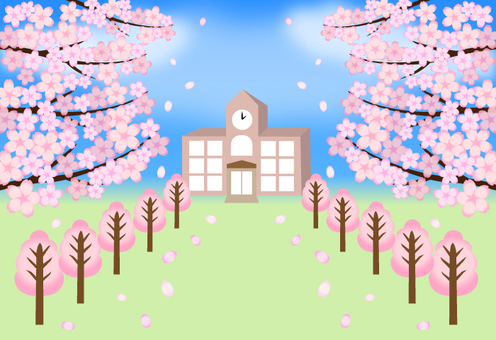 Cherry blossoms and school