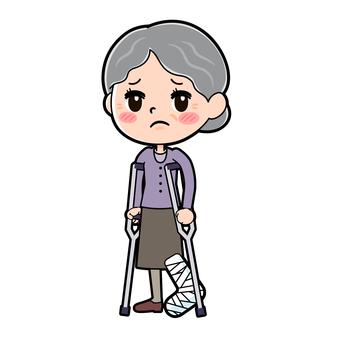 Senior women purple fractured legs