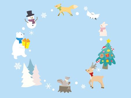 冬の動物フレーム1