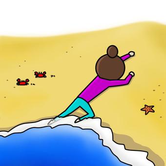 ひとり 浜辺 打ち上げられる