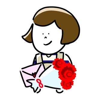 花束と手紙を持つ母