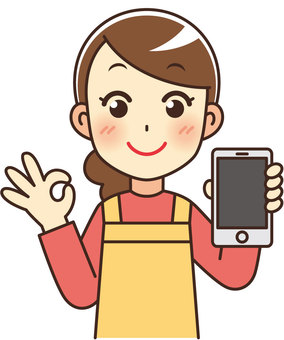 A cute housewife with a smartphone