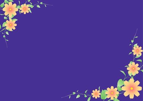 플라워 & 리프 프레임 진한 파란색 배경 2