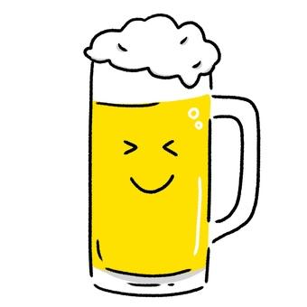 顔つきのビールの入ったジョッキ・手描き