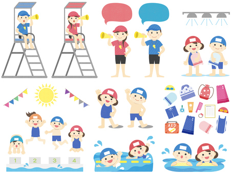 Illustration of summer _ children _ pool