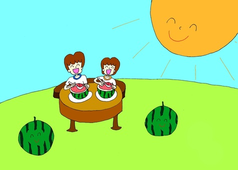 Two people eating watermelons
