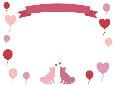 Ribbon and dog frame balloon pink