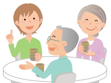 60630. Three people, tea 2