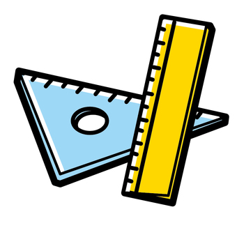 Triangular ruler and a measure Simple bold line
