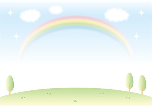 Prairie and sky and rainbow