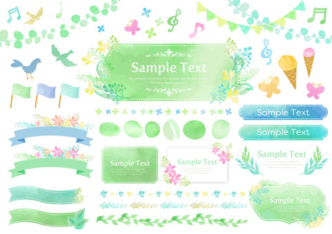 Watercolor material 037 Fresh green frame set