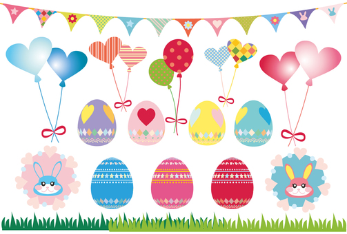 부활절 달걀 & amp; 플래그 & 토끼 & 풍선