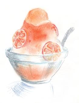 Orange shaked ice