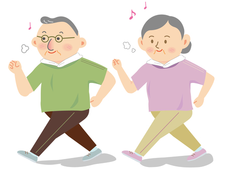 Walking senior citizen