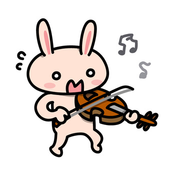 A rabbit who can not play the violin well