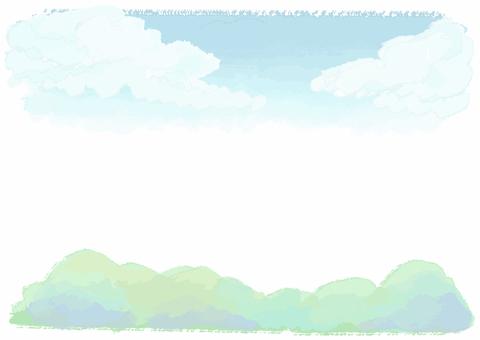 부드러운 수채화 하늘과 산