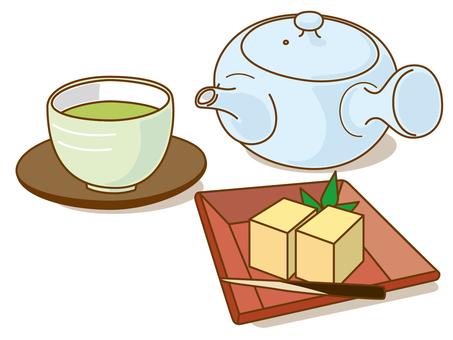 Food teapot and hot water (sweet potato)