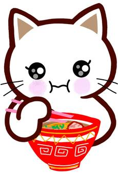 라면 먹는 고양이 고양이