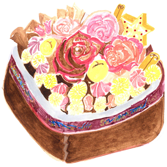 Rose and fruit arrangement