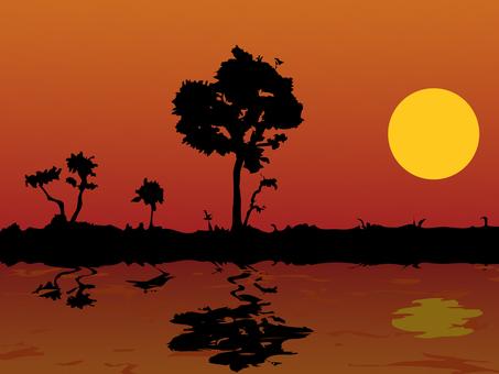 Cut sunset silhouette