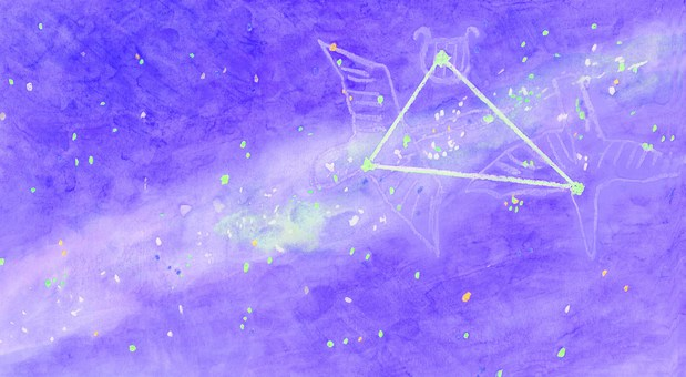 【Handwritten】 The Milky Way and the Large Triangle in the Summer