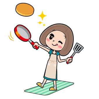 Green dress young woman cooking hot cake