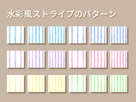 수채화 풍의 스트라이프 패턴 세트 흰색