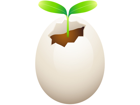 ai Eco Illustration Futaba growing from shell of egg 2