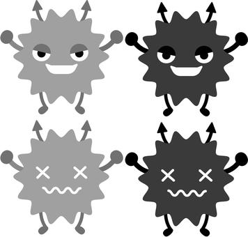 Illustration of Bikin · Virus (monochrome)