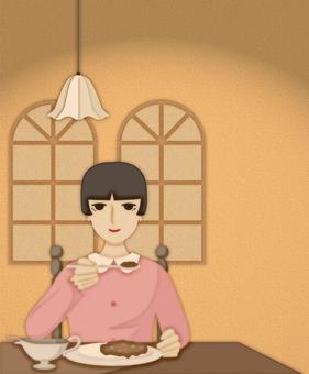 一個女人吃咖哩